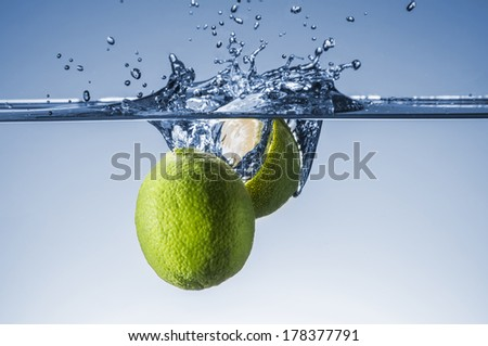 Limes splash with great detail and amazing colors - stock photo