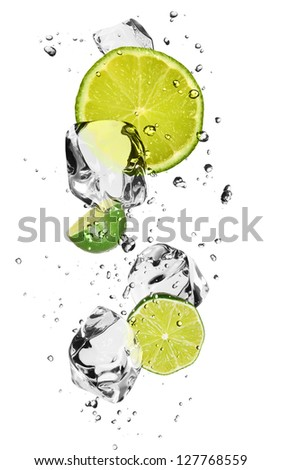 Limes with ice cubes, isolated on white background - stock photo