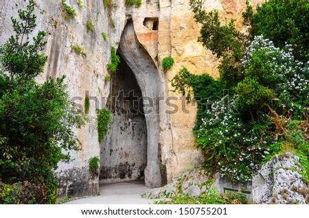 Limeston cave called Ear of Dionysius (Orecchio di Dionigi) on Sicily, Italy - stock photo