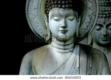 Limestone Buddhist state in Wat Pha Sawang Boon Nakornnayok Thailand - stock photo