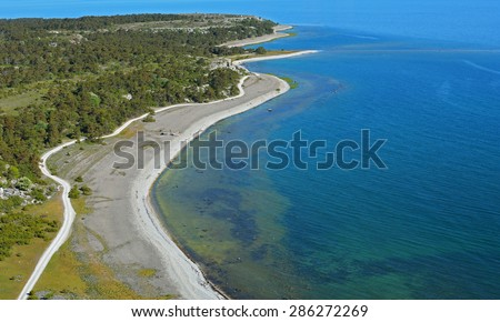 Limestone coastline on eastern part of Gotland island in Sweden