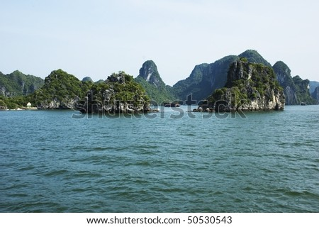 Limestone formations of Ha Long Bay, Vietnam - stock photo