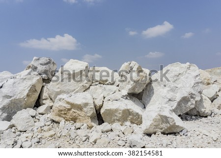 limestone in quarry - stock photo