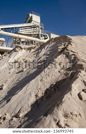 Limestone quarry with modern crushing and screening equipment near Split in Croatia - stock photo