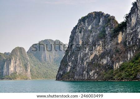 Limestone Rock Outcrops - Ha Long Bay, Vietnam - stock photo