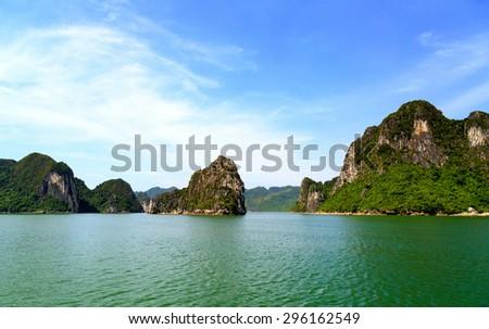 Limestone rocks in Halong Bay, Vietnam - stock photo