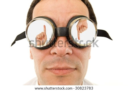 Limited choices concept - man with goggles, isolated - stock photo