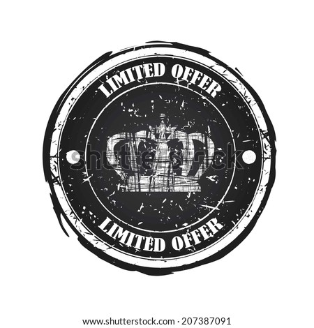 Limited Offer black rubber stamp with crown isolated on white background.