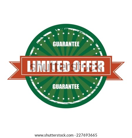 Limited Offer Guarantee Vintage Green Label, Sticker, Sign and Stamp. - stock photo