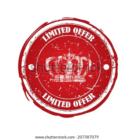 Limited Offer red rubber stamp with crown isolated on white background. - stock photo
