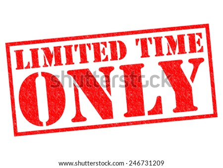 LIMITED TIME ONLY red Rubber Stamp over a white background. - stock photo