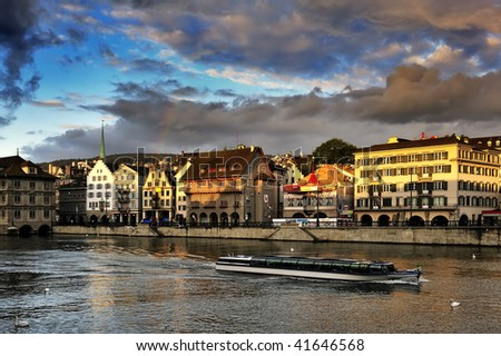 Limmat river and from Zurich - stock photo