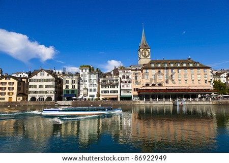 Limmat River in Zurich, Switzerland - stock photo