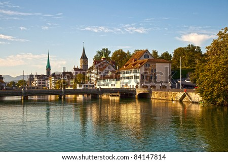 Limmat River, Zurich - stock photo