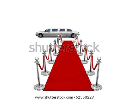 limo and red carpet - stock photo
