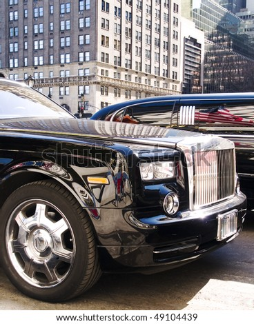 limo on the street, New York - stock photo