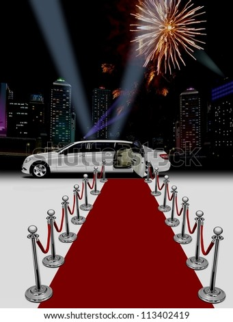 limo red carpet - stock photo