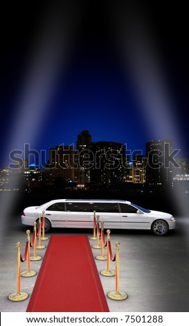 limousine parked in front of a red carpet with a city skyline in the background and searchlight beams coming in from the side - stock photo