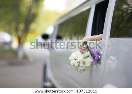limousine wedding bouquet - stock photo