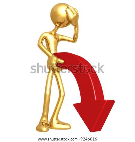 Limp Downward Market Trend Arrow - stock photo