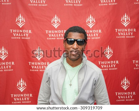 LINCOLN, CA - August 22: Babyface poses for meet and greet at Thunder Valley Casino Resort in in Lincoln, California on August 22, 2015 - stock photo