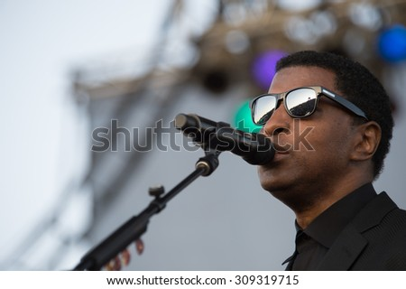 LINCOLN, CA - August 22: Kenny Babyface Edmonds performs at Thunder Valley Casino Resort in in Lincoln, California on August 22, 2015 - stock photo