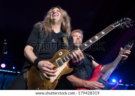 LINCOLN, CA - February 28: Joel Hoekstra (R) and Brad Gillis of Night Ranger performs at Thunder Valley Casino Resort in Lincoln, California on February 28, 2014