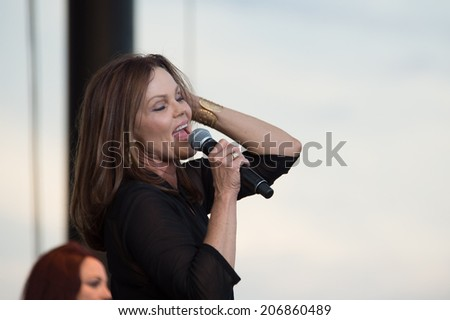LINCOLN, CA - July 19: Belinda Carlisle of The Go Go's perform in support of the Replay America Tour at Thunder Valley Casino Resort in Lincoln, California on July 19, 2014 - stock photo