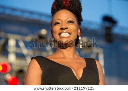 LINCOLN, CA - July 26: Sy Smith performs with Chris Botti at Thunder Valley Casino Resort in Lincoln, California on July 26, 2014 - stock photo