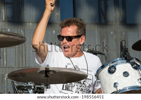 LINCOLN, CA - June 7: Glenn Symmonds of the Eddie Money band performs at Thunder Valley Casino Resort in Lincoln, California on June 7, 2014 - stock photo