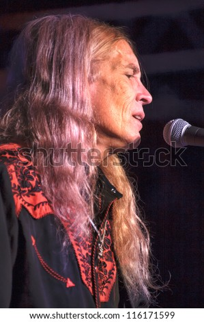 LINCOLN, CA - OCT 19: Billy Crain of Country rock band The Outlaws perform at Thunder Valley Casino Resort in Lincoln, California on October 19th, 2012 - stock photo