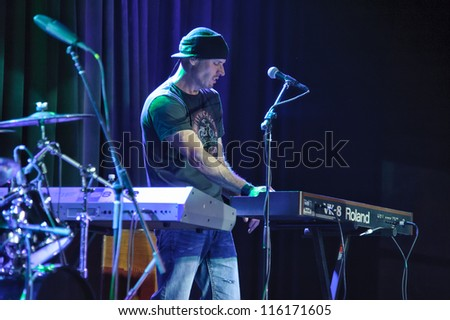 LINCOLN, CA - OCT 19: Dave Robbins of Country rock band The Outlaws perform at Thunder Valley Casino Resort in Lincoln, California on October 19th, 2012 - stock photo