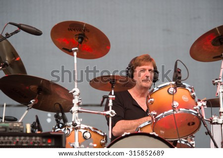 LINCOLN, CA - September 11: Drummer Ron Hurst of Steppenwolf performs on stage at Thunder Valley Casino Resort in in Lincoln, California on September 11, 2015 - stock photo