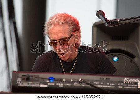 LINCOLN, CA - September 11: Keyboardist Michael Wilk of Steppenwolf performs at Thunder Valley Casino Resort in in Lincoln, California on September 11, 2015 - stock photo