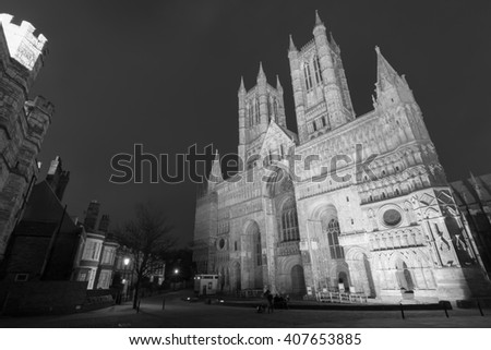 Lincoln Cathedral (also known as The Cathedral Church of the Blessed Virgin Mary of Lincoln) in Lincoln, UK - stock photo