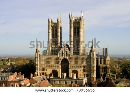 Lincoln Cathedral (also known as The Cathedral Church of the Blessed Virgin Mary of Lincoln) in Lincoln, England - stock photo