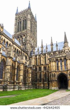 Lincoln Cathedral, Lincoln, England, built from 1088 over several phases - stock photo