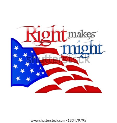 Lincoln Day - Right makes Might - stock photo