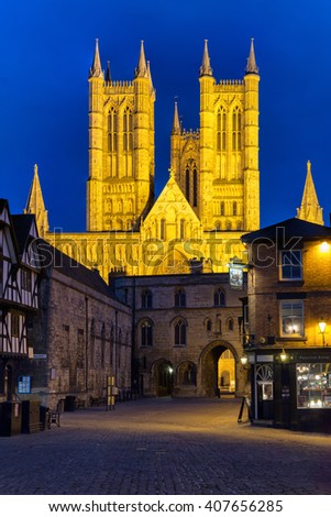 LINCOLN, ENGLAND - MARCH 20: Lincoln Cathedral from the market square in Lincoln on March 20 2016 in Lincoln, England. - stock photo