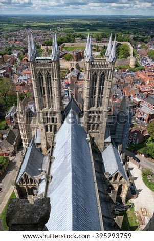 LINCOLN, LINCOLNSHIRE-MARCH 10:Rooftop view of Lincoln Cathedral on March 10, 2015. A cathedral of great historic importance with Norman and gothic architecture