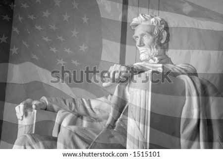 Lincoln Memorial & American Flag - stock photo