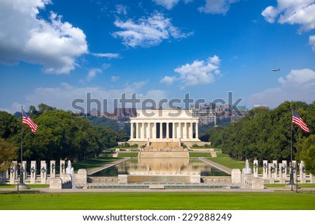 Lincoln Memorial and National World War II Memorial, Washington DC, USA - stock photo