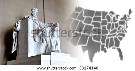Lincoln Memorial and US map - stock photo