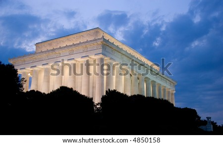 Lincoln Memorial at dusk, in Washington DC, USA - stock photo