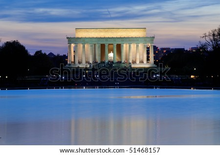 Lincoln Memorial at dusk, Washington, DC - stock photo