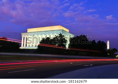 Lincoln Memorial at night - Washington DC, United States - stock photo