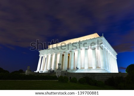 Lincoln Memorial at night, Washington DC USA  - stock photo