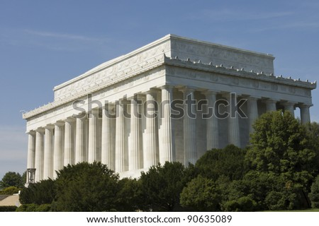 Lincoln Memorial close view, in Washington, D.C.,built to honor 16th President Abraham Lincoln by architect Henry Bacon - stock photo
