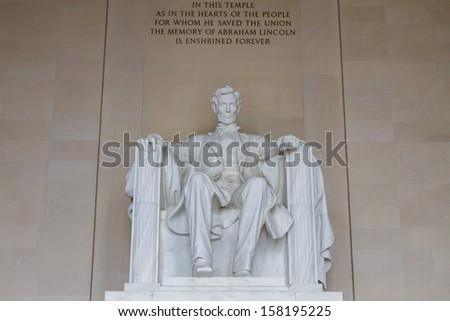 Lincoln Memorial Hall at Washington DC , USA - stock photo