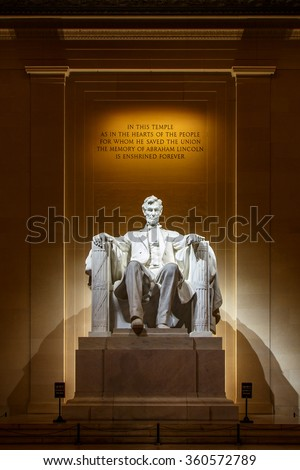 Lincoln Memorial illuminated at night in Washington DC - stock photo